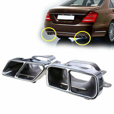 2pc Rear Muffler Exhaust Tips Pair RH LH Steel for Mercedes-Benz W221 W164 05-13