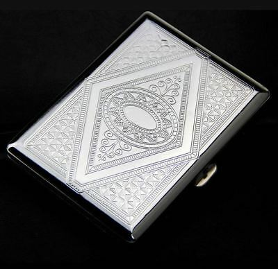 METAL CIGARETTE CASE . . . silver metal engraved design cigerette holder gift