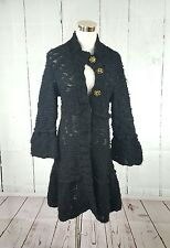 FREE PEOPLE VTG CROCHET WOOL SWEATER DUSTER CARDIGAN CHUNKY BLACK SMALL