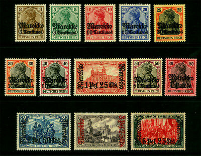 German Colonies -Offices in MOROCCO 1911 SURCHARGED set wmk Sc# 45-57 mint MH