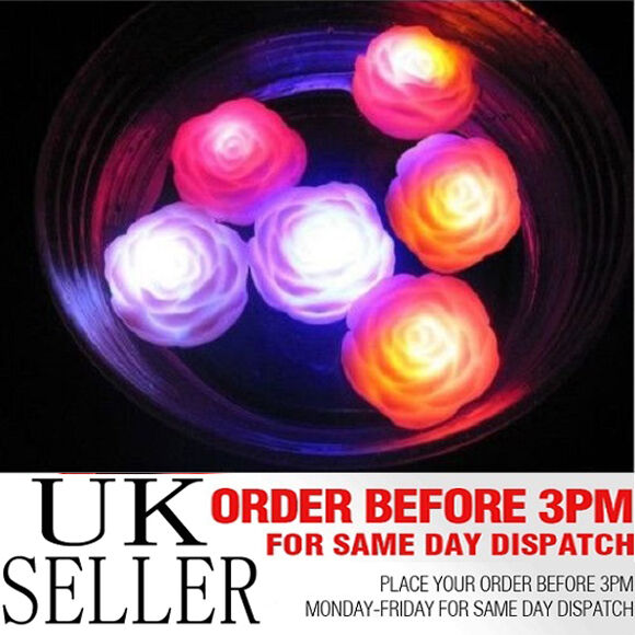 6 x Waterproof Multi-colour Floating LED pink Light Bath SPA Candles Safe  UK