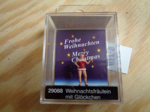 personnage H0 Preiser 29088 de Noël Mademoiselle avec clochette NEUF dans sa boîte