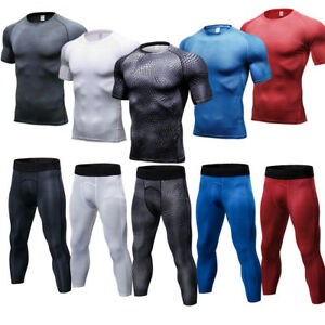 Mens-Compression-Tights-3-4-Length-Gym-Workout-T-Shirts-Slim-fit-Dri-fit-Wicking