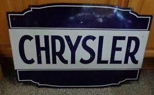 """CHRYSLER PORCELAIN ORIGINAL 2 SIDED SIGN 36"""" X 24"""""""