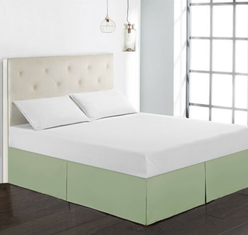 """15/"""" Drop Bed Skirt Double Brushed Pleated Tailored Dust Ruffle 4 Sizes"""