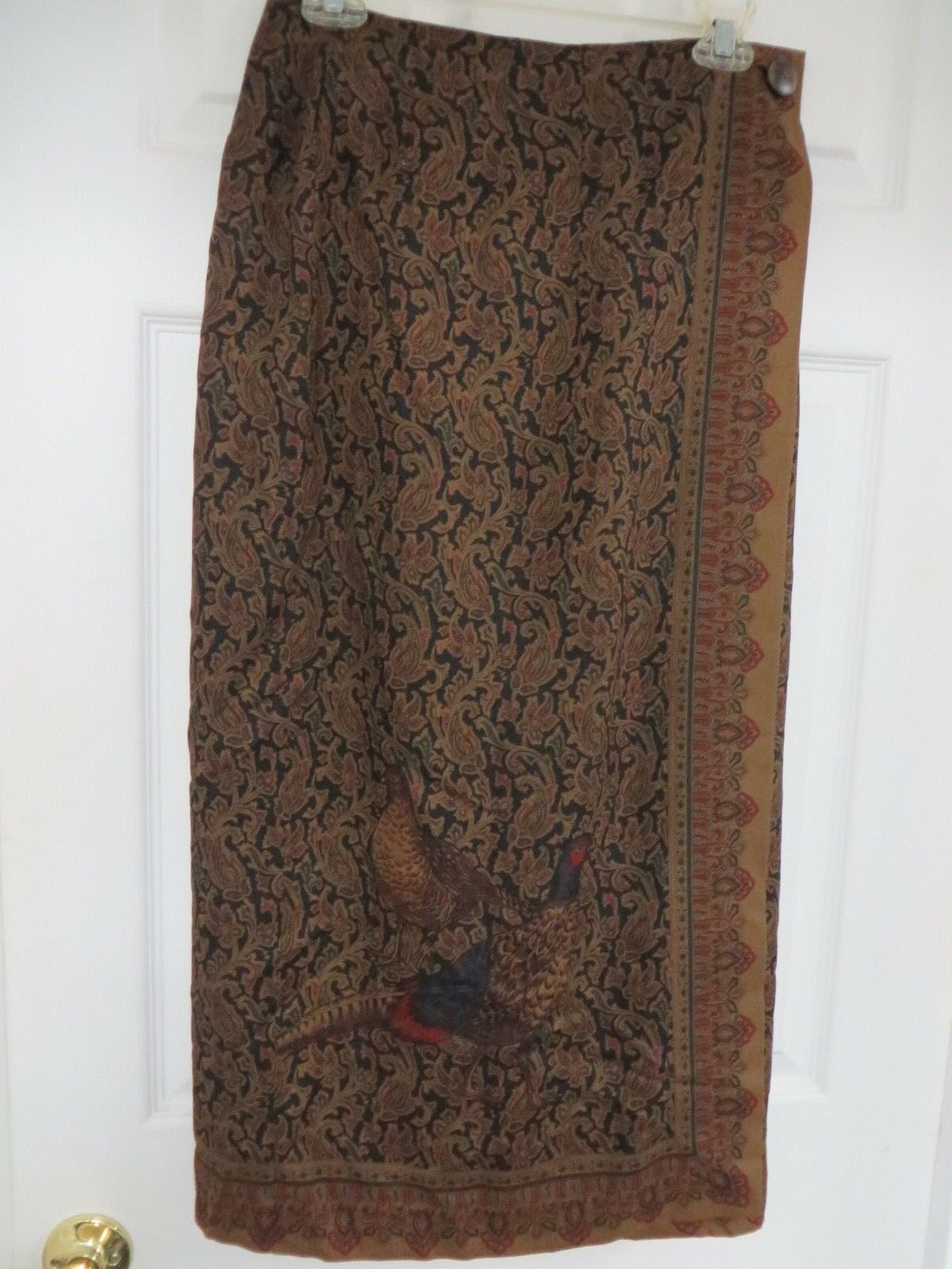 BROOKS BredHERS  Yellow label Paisley Birds Wrap Long Lined Skirt Multi-color  8