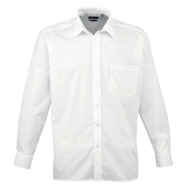 Premier PR202 Mens poplin short sleeve blouse  Plain Work Shirt Sizes 14.5-19
