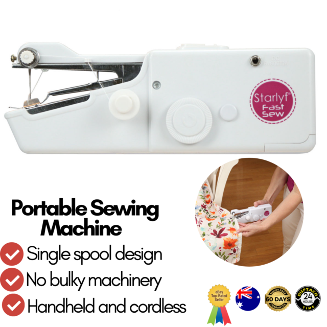 Sewing Machine Mini Handheld Portable Cordless Compact Stitch Home Clothes DIY