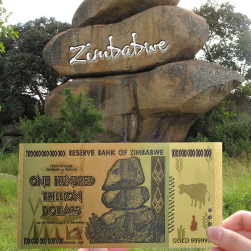 Color 24K Gold bill Banknote Collection Gift Zimbabwe 100 Trillion Dollars