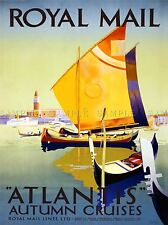 TRAVEL ROYAL MAIL ATLANTIS CRUISE GONDOLA VENICE ITALY VINTAGE POSTER 1013PYLV