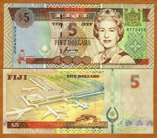 1998 ND FIJI 5 dollars QEII P-101a UNC