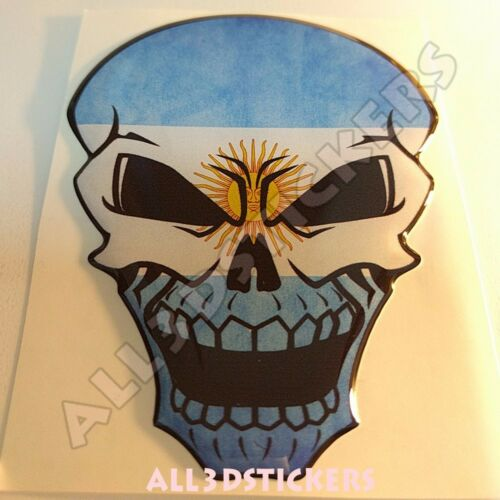 Sticker Flag Argentina Skull Adhesive Decal Resin Domed Car Moto Tablet 3D