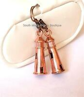 Copper Lighthouse Earrings Pierced Nautical Ship Boat Beach Rose Gold Plated Usa