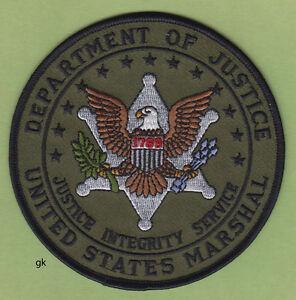 """UNITED STATES MARSHAL DOJ SHOULDER PATCH 4/"""" BROWN"""