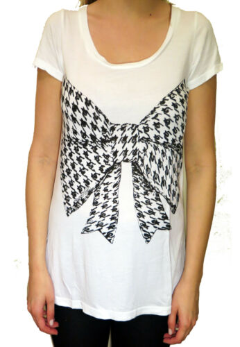 Lauren Moshi Ginger Houndstooth Bow Crew Neck Tee in White
