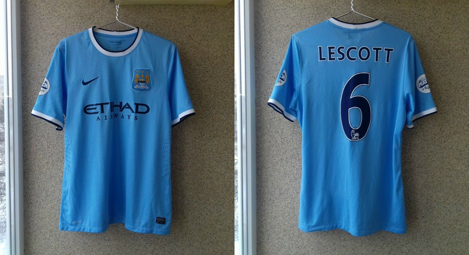 Joleon Lescott Match Worn Manchester City Super Match by Carlsberg 2013 Jersey