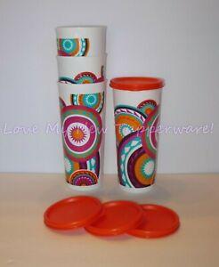 Tupperware-Mayan-Sunset-Straight-Edge-16oz-Tumblers-Flat-Seals-Set-of-4-New
