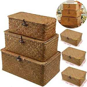 Image Is Loading 3 Wicker Laundry Storage Baskets Bin Clothes Gift