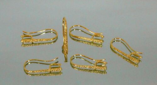 Gold Earring Findings 14K pure plated 1 Micron Earwire long Pinch bail Frosted