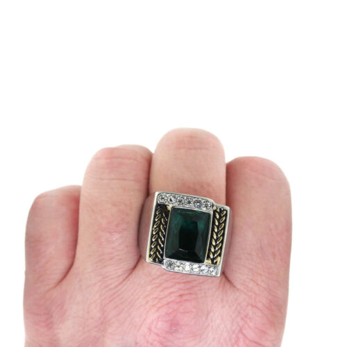Emerald Cut Blue Zircon Stone Tutone Silver Stainless Steel Mens Ring