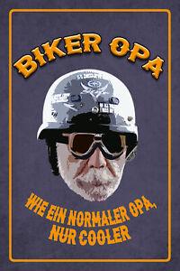 Biker-Opa-Blechschild-Schild-gewoelbt-Metal-Tin-Sign-20-x-30-cm-W1137