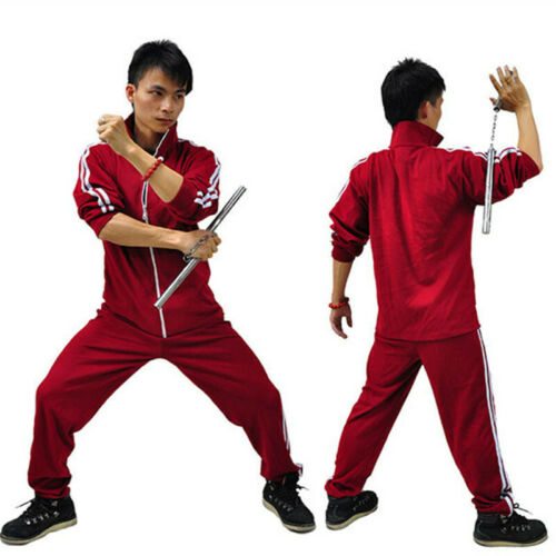 Chinese Kung Fu Costume Classic Long street Red Cotton Suits Tracksuit Uniform