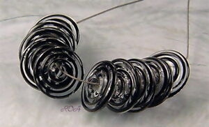 ROA-Lampwork-10-Filigree-Black-Handmade-USA-Disc-Art-Glass-Beads-SRA