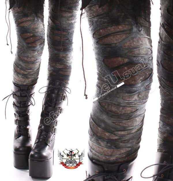 Punk Goth Mummy Torn Distressed Hole Grunge Ash Legging S.M.L.XL.XXL