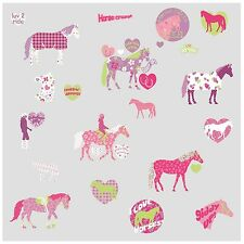 HORSES 44 BiG Wall Stickers Girls Room Decor Decals Kids HEARTS Polka Dots Pony