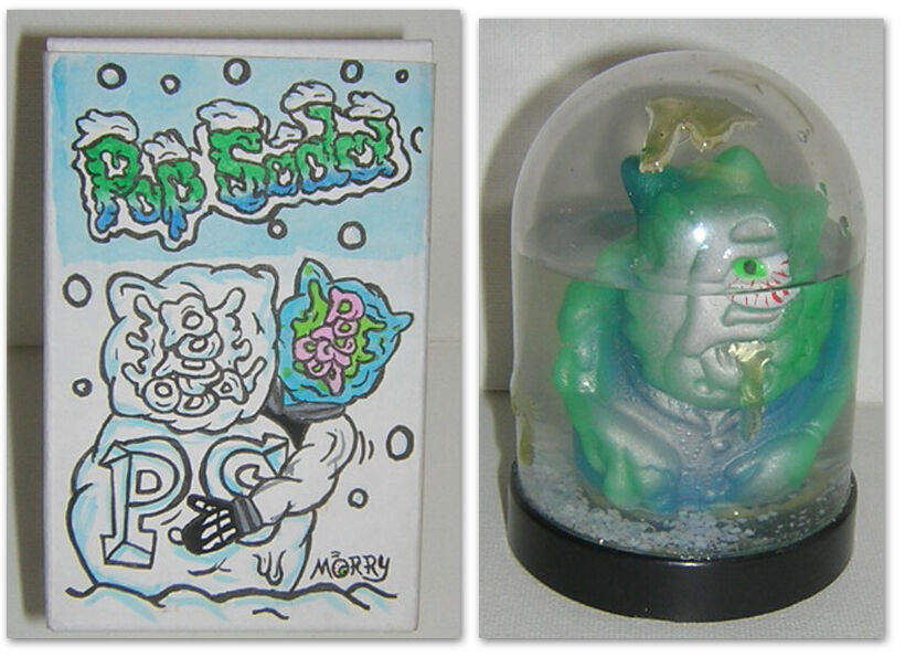POP SODA SODA SODA FINGER PUPPET SNOW GLOBE WITH COOL HAND PAINTED BOX ec4ae0