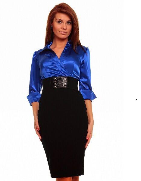 LADIES FASHION BUSINESS 3 4 SLEEVE KNEE-LENGTH DRESS incl. BELT ROYAL blueE 567