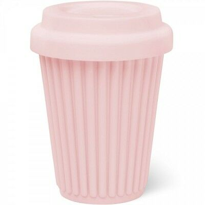 BYO Silicone Reusable Travel Coffee Cup Mug 340ml / 12 Oz in Pink + Pink Lid