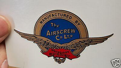 The AIRSCREW Propeller Decal Set of 2 Weybridge Surrey England 1920s - 1930s