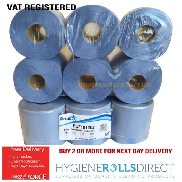 12 Pack Office Workshop Blue Hand Towels Rolls 2 Ply Centre Feed Wipers Embossed