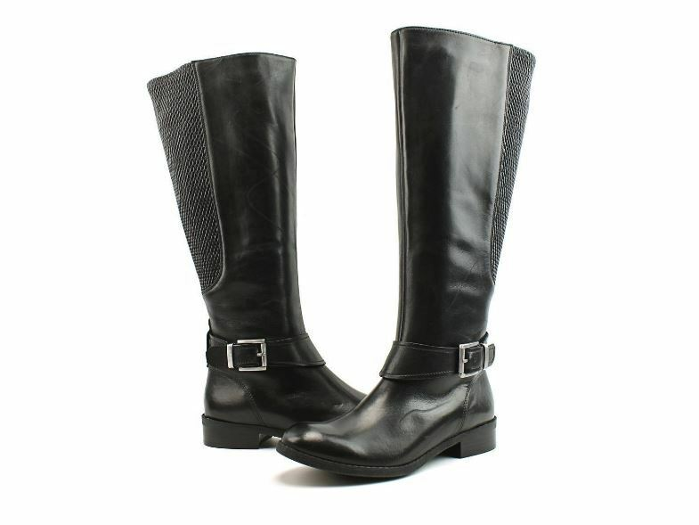 New Clarks Women Pita Arizona Leather Tall Wide Calf Boots Boots Boots Black Size 6.5 cd79b8