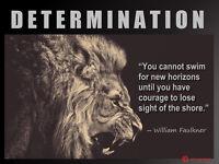 Lion Determination William Faulkner Quote Inspirational Poster 18 X 24 Inches