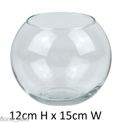 48X WEDDING GLASS VASE FISH BOWL 21ST BULK 12CM HIGH VASES CLEAR