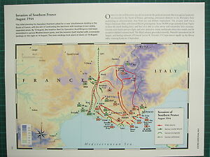 Ww2 wwii map invasion of southern france aug 1944 allied attacks image is loading ww2 wwii map invasion of southern france aug gumiabroncs Images