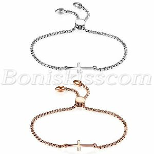 Details About Women Simple Polish Stainless Steel Freely Adjule Charm Cross Bracelet Chain