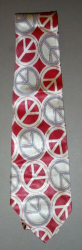 Vintage Original 1960s 1970s Peace Sign Necktie Ti