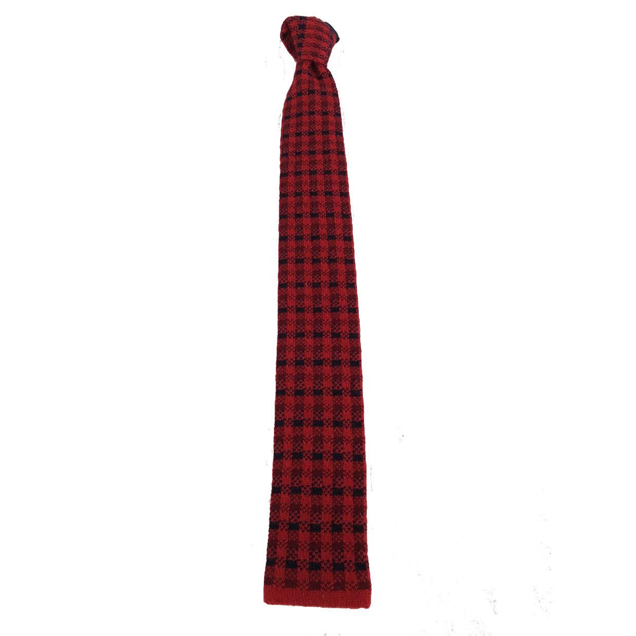 FIORIO Milano Krawatte Jersey Fuß de Poule rot 100 % Kaschmir made in italy   Outlet Store