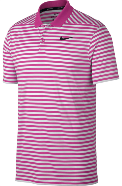 Nike Standard Dri-fit Pink White Golf Polo Shirt Mens Large 891239 623
