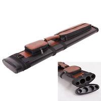 Leather 2x2 1/2 Billiard Stick Pool Hard Cue Tube Case Black & Brown Hole Pocket
