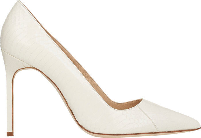 935 New Manolo Blahnik BB 105 EXOTIC White Cream Snake shoes Pumps 38 39 40