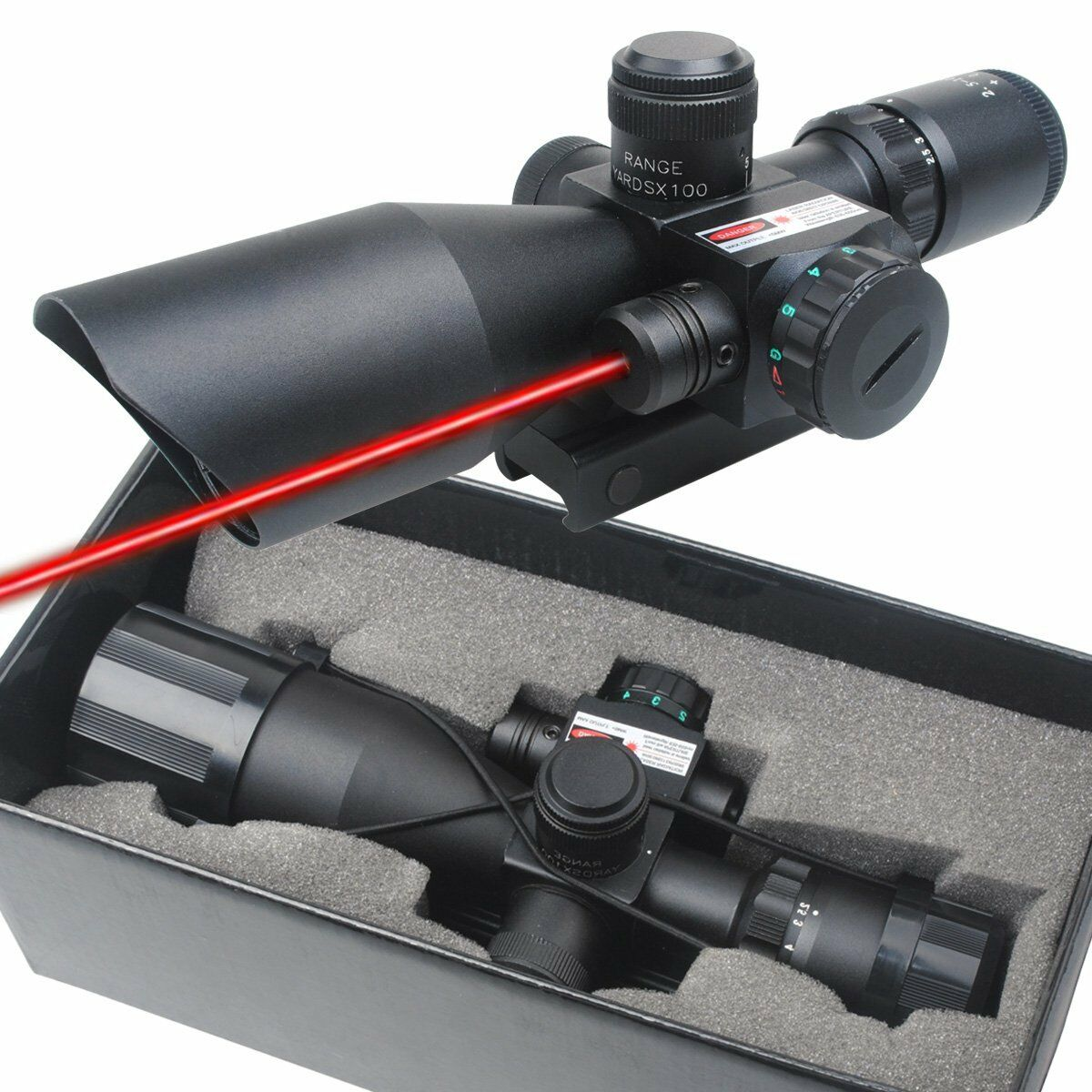 2.5-10x40 Red Laser Tactical Rifle Scope Red Green Mil-dot illuminated Mount