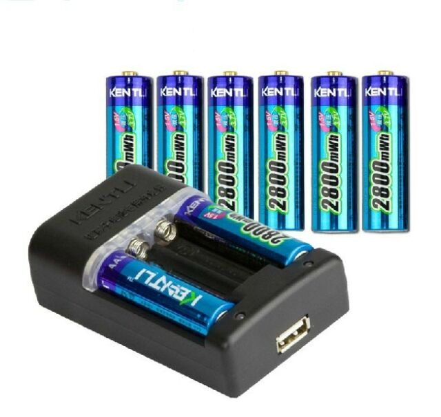 8pcs KENTLI 1.5v 2800mWh AA rechargeable Lithium battery + Quick AA AAA Charger