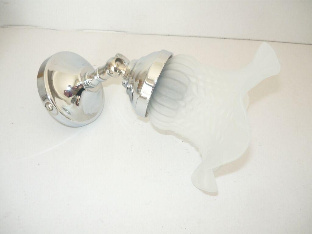Applique laiton poli chrome acier silveré avec le verre single