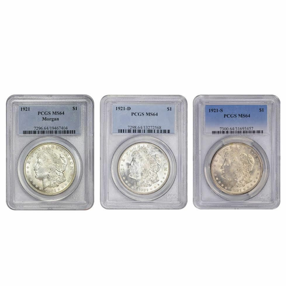 1921 Pds Morgan Silver Dollar Pcgs Ms64 3pc Set Ebay