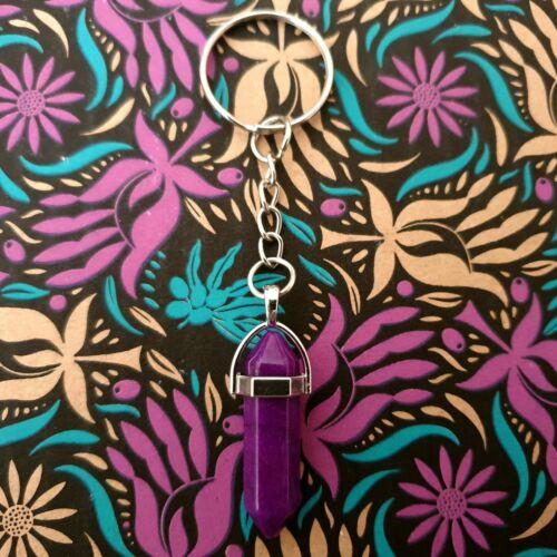 Natural Quartz Keyring Chakra Crystal Healing Point Cut Gemstone Reiki Key Ring