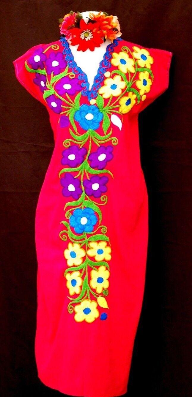 Mexican Maxi Dress huipil Fuchsia Floral Embroidery Tunic Oaxaca Vtg 5 de Mayo